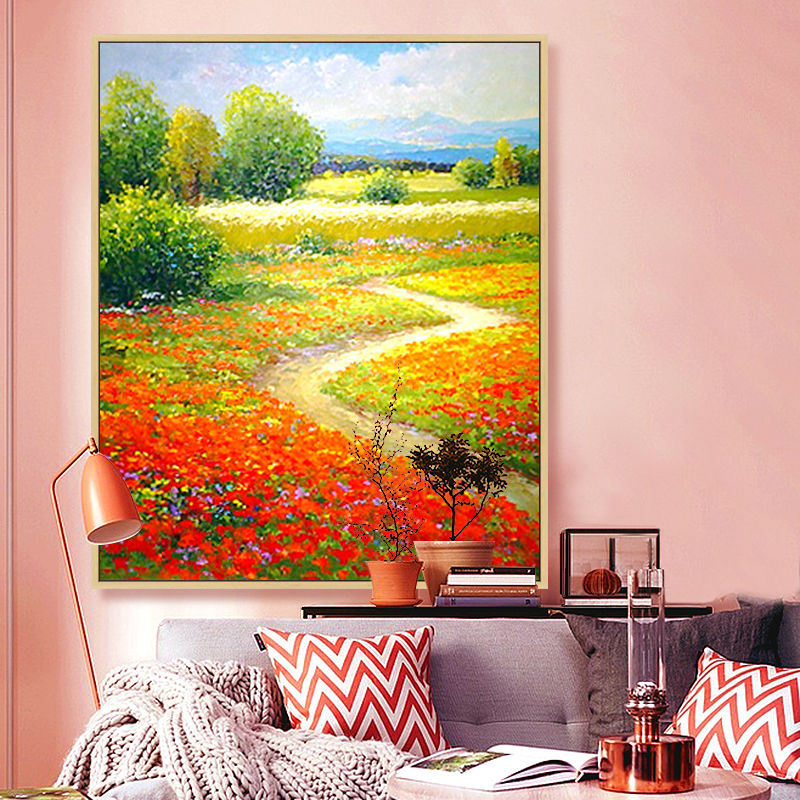 Artist sales hand made oil paintings flower covered country road image