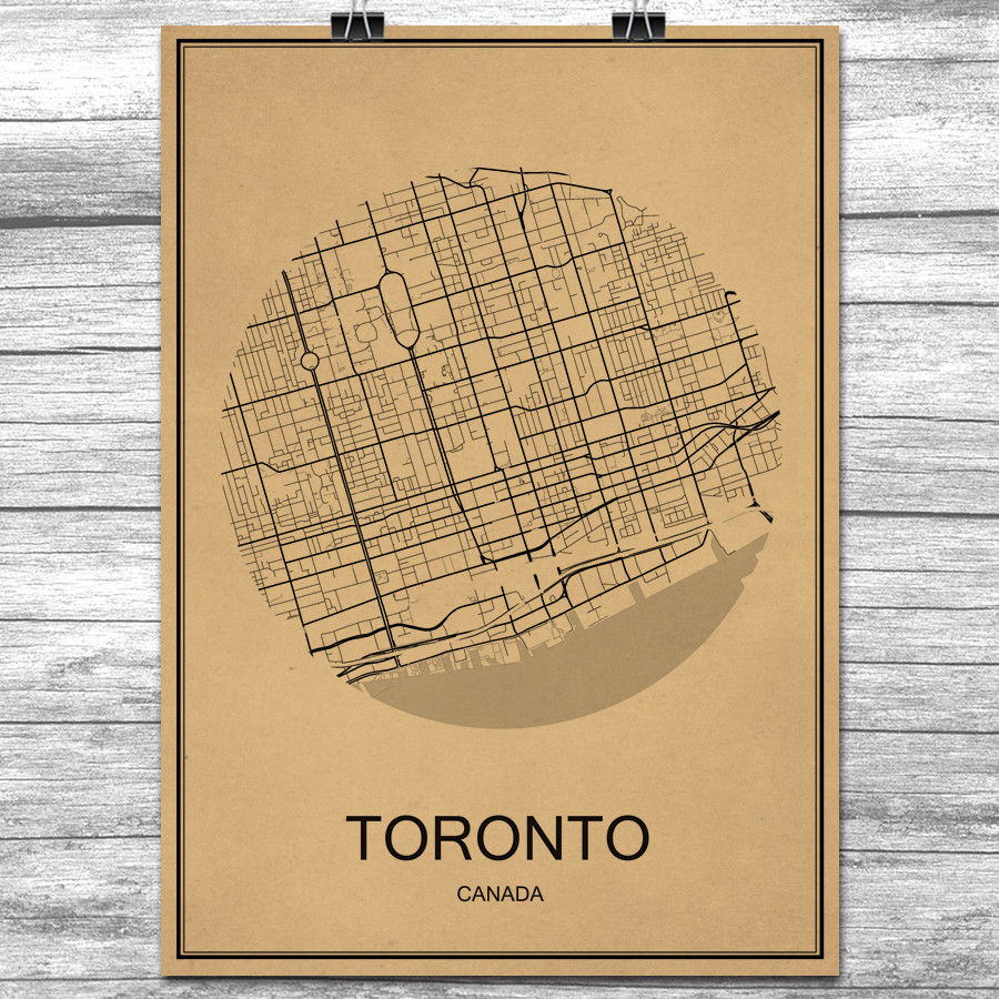 Online Shop Canada TORONTO Kraft Paper World City Map Vintage Retro ...