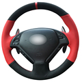 DG Red Leather Black Suede Car Steering Wheel Cover for Infiniti G25 G35 G37 QX50 EX25 EX35 EX37 2008-2013