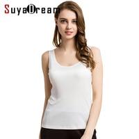 100 Pure REAL SILK Sleeveless Women Solid Fashion Basic Shirt O Neck Barlet Femininas Tank Top