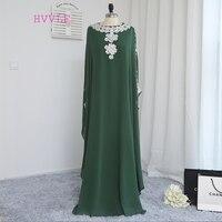 Verde 2017 Muçulmanos Vestidos de Noite Bainha Chiffon Lace Islâmico Saudita Árabe Dubai Abaya Kaftan Longos Vestidos de Noite do Baile de Finalistas