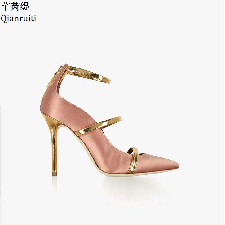 цены Qianruiti Pink Silver Silk Stiletto Heels Women Wedding Shoes Sexy Pointed Toe Women Pumps Metal Strap High Heels Women Sandals