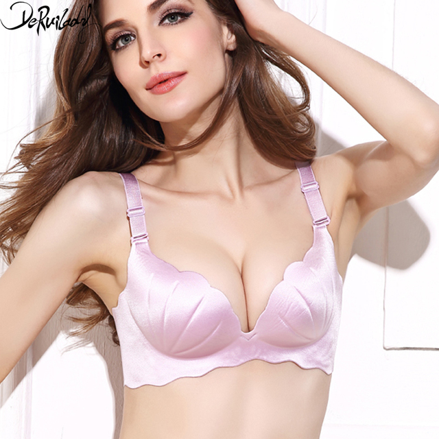 9b7af928dd918 DeRuiLaDy Fashion Shell Bra Women Solid Push Up Bra Adjustable 3 4 Wire Free  Bralette Comfort Shell Underwear Women Lingerie