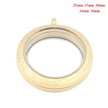 Mix Size 316L Stainless Steel Waterproof Gold Shine Floating Locket Pendant for DIY Necklace