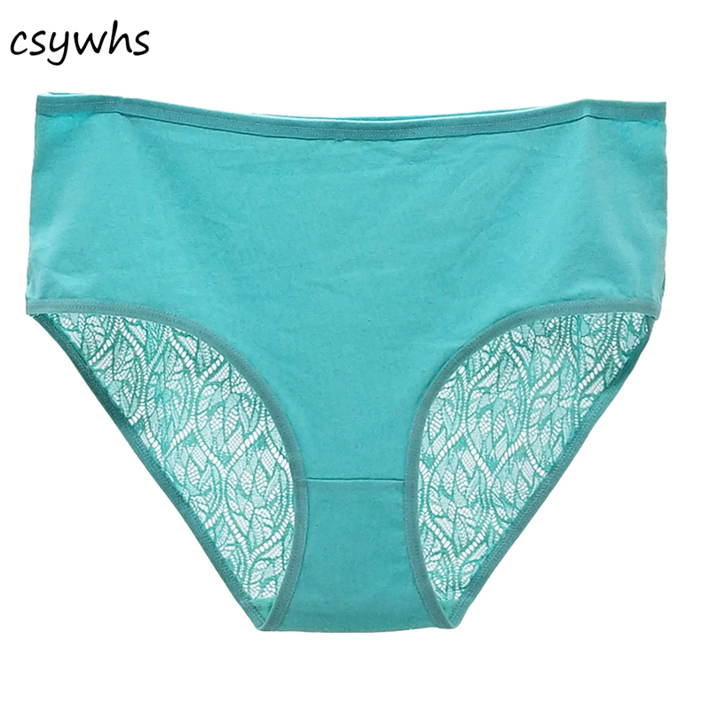 CSYWHS Plus Size Women Lace Hollow Out Briefs Underwear High Rise Sexy   Panties   Cotton Knickers Female Intimates Lingerie 1pc