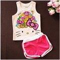 Casuais Roupas de Verão Meninas Dos Desenhos Animados Set Crianças T-shirt + Calças Curtas Ternos Do Esporte Conjuntos de Roupas 2016 Da Menina Da Criança para As Crianças