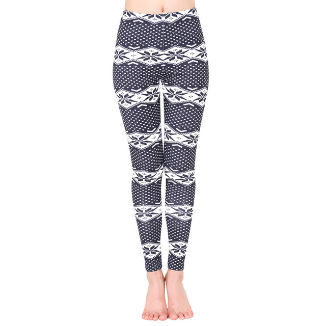 women holiday floral print leggings casual footless skinny pants christmas tribal tights workout yoga pencil pants