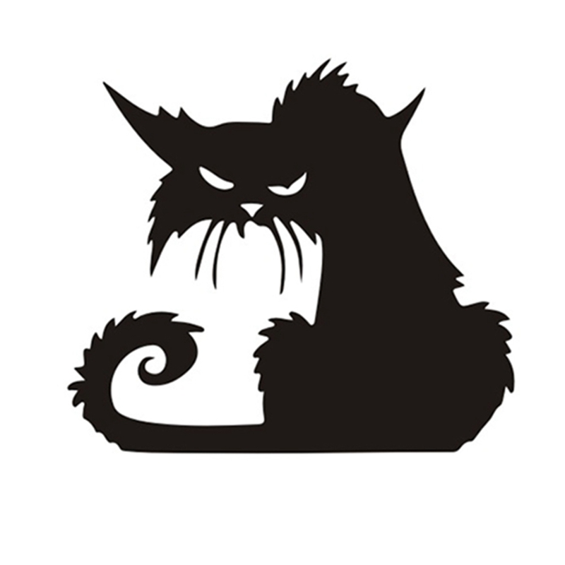 15*13CM Halloween Terror Cat Window Stickers Funny Creative Cartoon Car Sticker Black