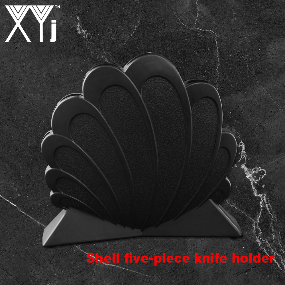 XYj Plastic Knife Holder Fashion Storage Knives Rack Tool Kitchen Stand For 5-pieces Set Stainless Steel Knife&Scissor Cook Tool
