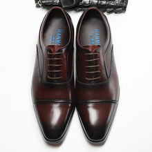 QYFCIOUFU Genuine Cow Leather Luxury Toe Cap Men Wedding Shoes Designer Dress Shoes Black Brown Lace-up Fashion Office Shoes
