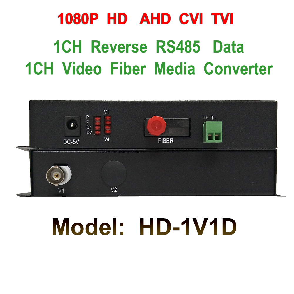 1 Channel RS485 1080p HD CVI AHD TVI Video Fiber optical to Analog Converter - For Optical to Coaxial 1080p CCTV Cam Converter 4 channel video optical converter fiber optic video optical transmitter receiver 4ch rs485 data ahd cvi tvi cvbs coaxial fiber