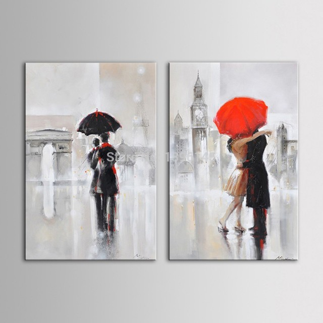 Arts Hand Painted Oil Painting Landscape Romantic Couple