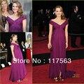Natalie Portman 2011 Oscar red carpet a line v neck pleats chiffon long celebrity dress CD021