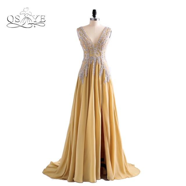 b5754b8713 Sexy Deep V Neck Long Champagne Tulle Prom Dresses 2018 Vestido de Novia  High Slit Women Formal Evening Party Gowns Custom Made