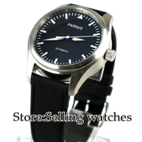Parnis New 42mm Black Dial Luminous watch hands Stainless Steel Case black Fabric/Canvas leather strap Automatic Men's Watch
