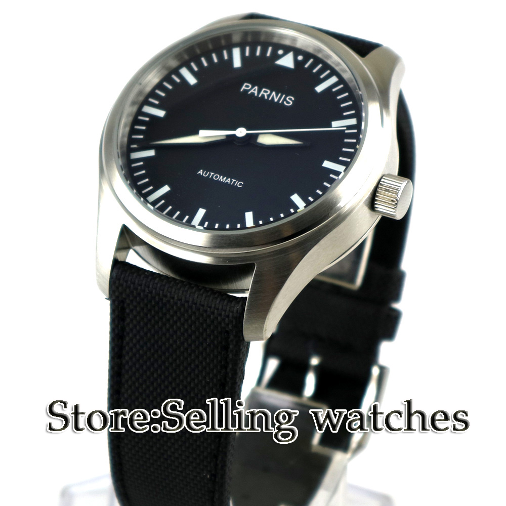 Parnis New 42mm Black Dial Luminous watch hands Stainless Steel Case black Fabric/Canvas leather strap Automatic Mens WatchParnis New 42mm Black Dial Luminous watch hands Stainless Steel Case black Fabric/Canvas leather strap Automatic Mens Watch