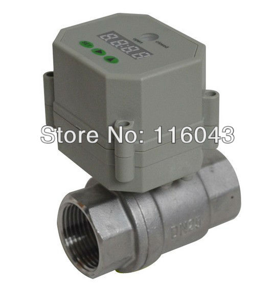SS304 1''  NPT/BSP full port time control electric ball valve AC/DC9-24V for water pump air compressor Drain water air  systems 3 4 brass time control electric valve ac110v 230v bsp npt can be selected for garden water irrigation drain water air pump