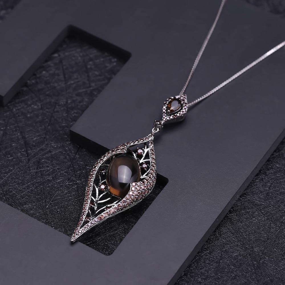 GEM'S BALLET Natural Smoky Quartz Gemstone Vintage Gothic Punk Pendant 100% 925 Sterling Sliver Necklace For Women Party Jewelry