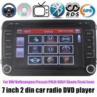 7 дюймов 2 DIN DVD для автомобиля VW Volkswagen Passat Polo Гольф Skoda сиденья Леон WI FI Bluetooth GPS Радио Оконные рамы ce системы