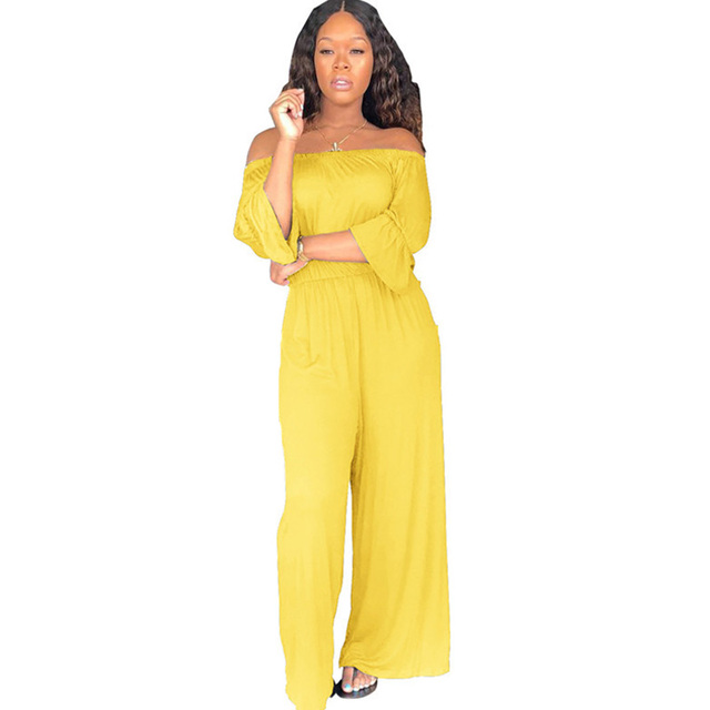 5c16ca13eb Sexy Strapless Off The Shoulder Jumpsuit Women Autumn Ruffles Long Sleeve  Backless Loose Wide Leg Romper