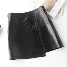 2018 New Sheep Leather High Waist Skirt