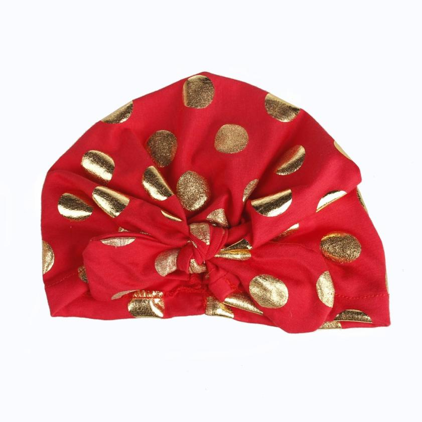 Mother & Kids Baby Girls Tie Indian Hat Newborns Elastic Bronzing Dot Printing Hedging Cap Headband Hair Accessories Wholesale&dropship