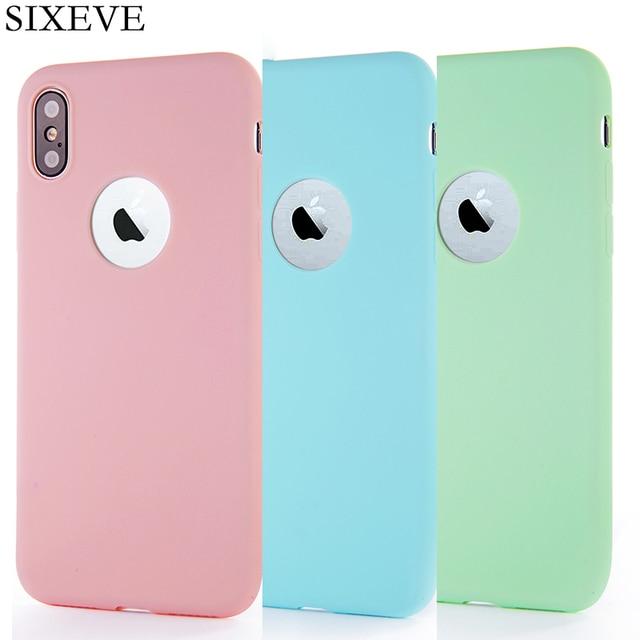 9fa7508ceb5 Cute Candy Colors Soft Silicone phone Case for iPhone 6 6S 7 8 Plus X 5 S  SE XR XS Max 6Plus 6SPlus 7Plus 8Plus Back Coque Etui
