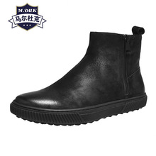 Mens Riding Boots zipper Genuine Leather high top shoes autumn winter casual chelsea boots men all-match cowhide cashmere men casual shoes 3d print shoes high top black white mix color comfortable cool all match genuine leather autumn winter shoes