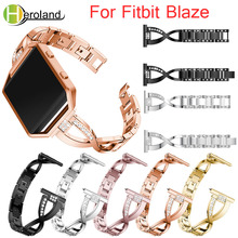 Watch Band For Fitbit Blaze smart replacement watchband Wrist Strap For Fitbit Blaze bracelet With Rhinestone Stainless Steel genuine leather watch band for fitbit blaze replacement band meatal frame house wrsit band for fitbit blaze smart watch strap