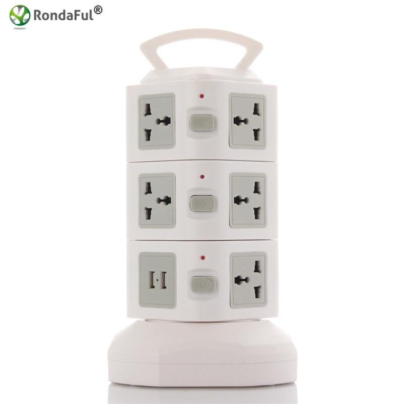 ФОТО Rondaful Electrical Plugs Sockets Power Strip EU US UK 2 USB Standard Wall Socket Extension Cable Cord American Plug