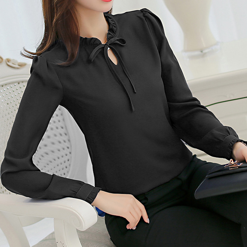Women Shirts Ruffle Blouse Fashion Spring Autumn Tops Chiffon Shirt Slim Long Sleeve White Blouse Office Blusas Mujer De Moda
