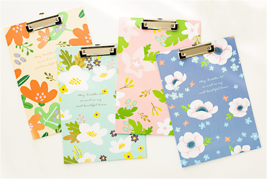 1PC  22*31cm Colorful Nice Flower Lovely Floral A4 Folder Writing Board Clip File Office Supplies