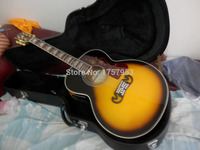 Factory custom 2017 Newest Yellow Sunburst Solid Spruce Top J 200 Jumbo Acoustic Guitar with hardcase ( not fishman EQ ) 33
