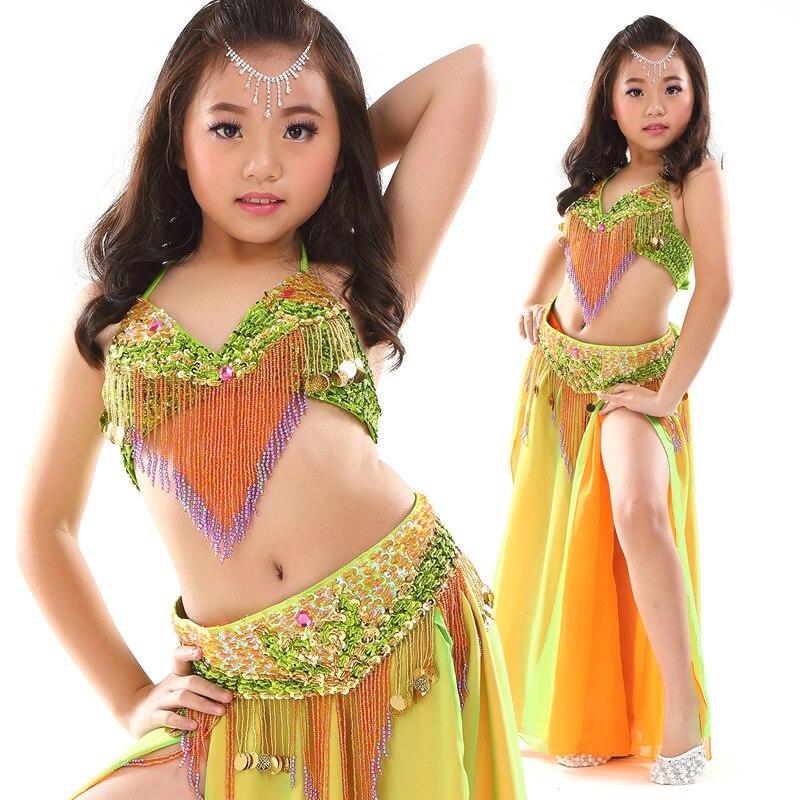 Nouveau Style Costume de danse du ventre ensemble Costume de danse orientale enfants vêtements de danse du ventre Costumes de danse indienne scène Performance 3 pièces