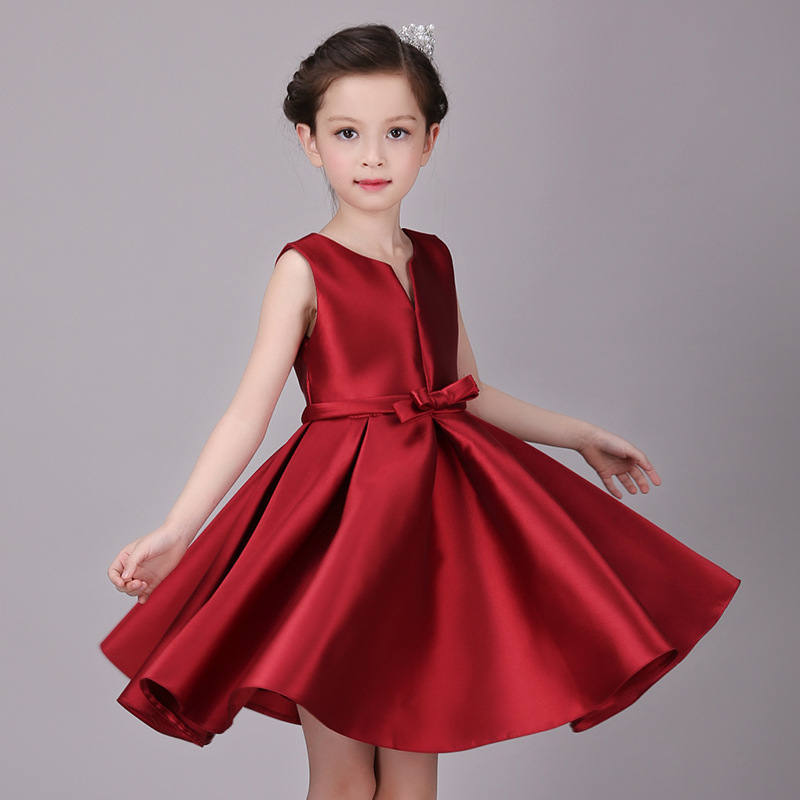 Cute Girl Dress Solid Red Children Summer Princess Dress for Birthday Party Sleeveless Girl Wedding Dress Ball Gown with Shawl ems dhl free shipping toddler little girl s 2017 princess ruffles layers sleeveless lace dress summer style suspender