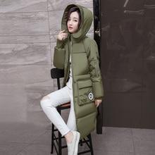 2016 Женские Зимние Куртки И Пальто Корейский Военный Пальто С Капюшоном Молния Полиэстер Вата Долго Армии Парки Для Женщин Зимой