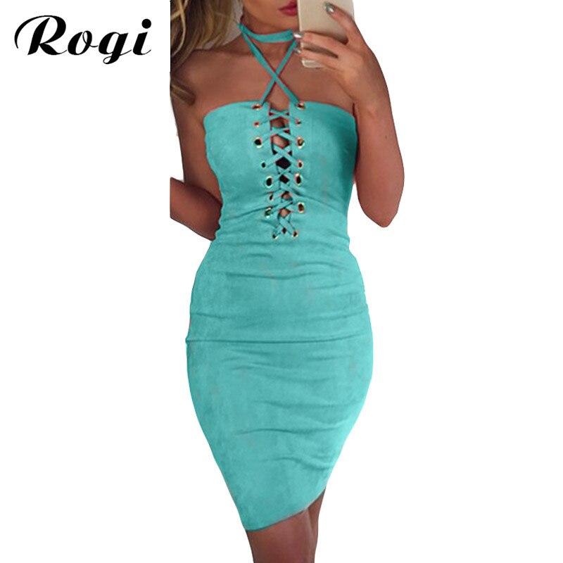 76ad9fe7476 Rogi Lace Up Suede Bandage Dress Women 2018 Summer Off Shoulder Halter  Bodycon Club Wear Party Ladies Dress Vestidos Femininos -in Dresses from  Women s ...