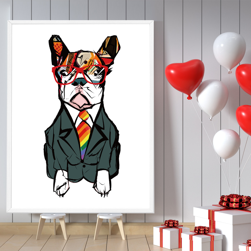Abstract Dog Giraffe Glasses Wall Art Canvas Posters and ...