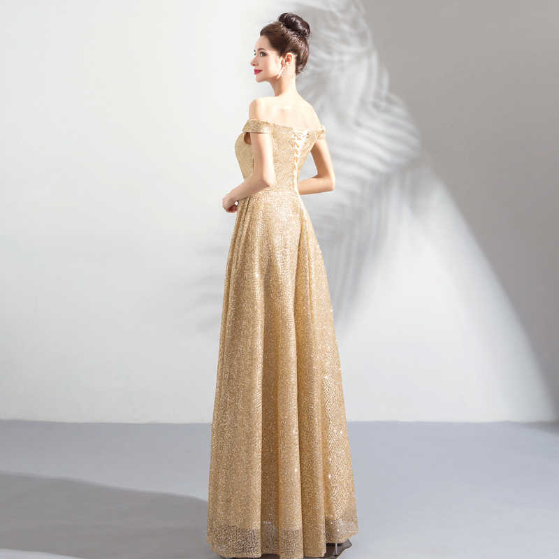... Walk Beside You Gold Evening Dresses Long Off Shoulder Bling Sequined  Prom Gown for Women Abito ... 893cd44dff9a