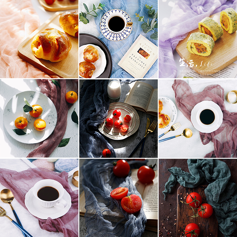 90x60cm Food Photography Background Cloth Old Shawl Ins Shooting Props Background Cloth Gauze Tea Towel Cloth Photo Booth Props