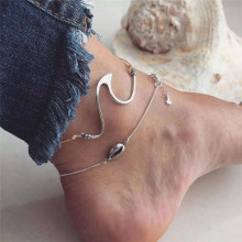 Minimalist Wave Sea Shell Anklets Bracelets Boho Conch Shape Silver Color Chain For Female Party Gift DIY Jewelry