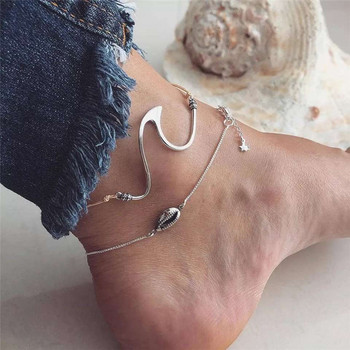 Minimalist Wave Sea Shell Anklets Bracelets Boho Conch Shape Silver Color Anklets Chain For Female Party Gift DIY Jewelry