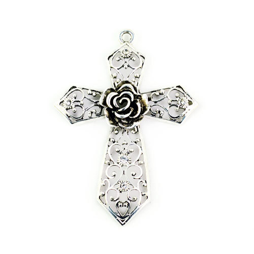 Fashion antique silver color hollow out rose cross pendant for diy fashion antique silver color hollow out rose cross pendant for diy jewelry accessories traditional cross necklace aloadofball Image collections