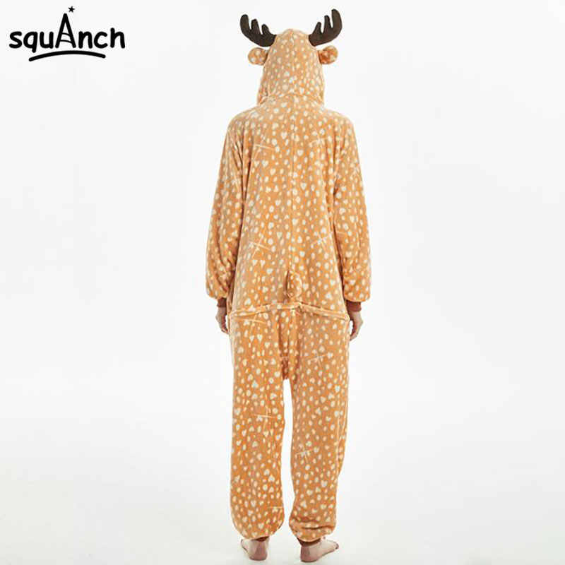 eb9edd9dd7f3 ... Sika Deer Kigurumi Onesie Women Adult Winter Sleepwear Lovely Cute  Cartoon Animal Flannel Pajama Festival Carnival ...