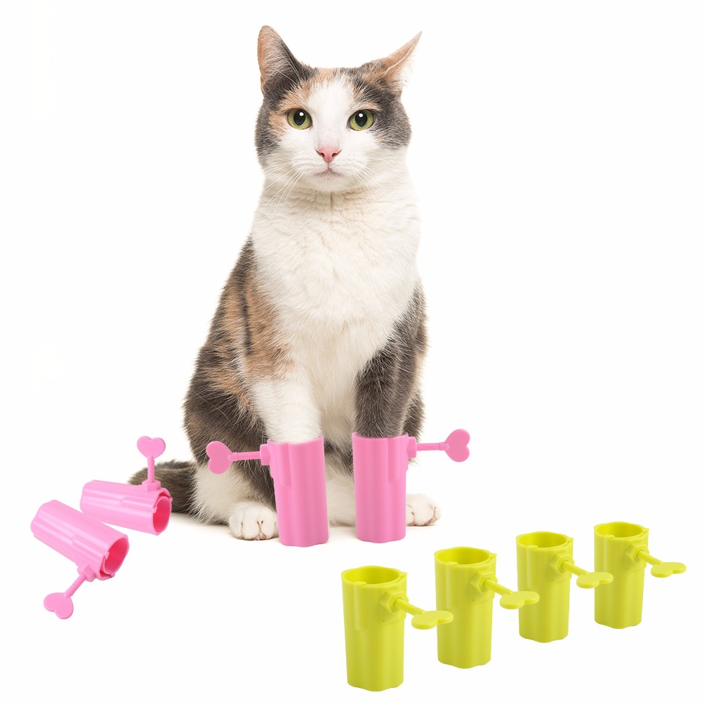 4Pcs/set Pet Cat Anti Scratching Boots Tools Prevent Biting Paws Glove Kitten Safe Comfortable Adjustable Shoes For Pets Cats 翻轉 貓 砂 盆