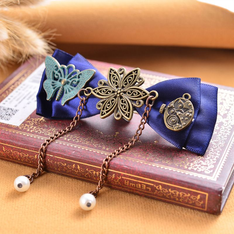 Steampunk Victorian Gears Bowknot Hair Clips Ladies Retro Jewelry Long Tassels Duckbill Hairpins Banquet Ponytail Clamp Barrette in Women 39 s Hair Accessories from Apparel Accessories