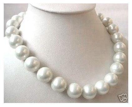 Énorme! Collier de perles en coquillage de mer du sud AAA + 20mm. Blanc