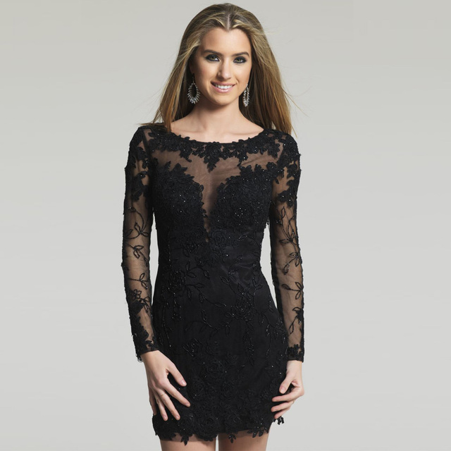 Fashion Beading Applique Sheer Back Long Sleeve Black Cocktail Dresses 2017 Short Prom Dress Women Party Gowns Homecoming Dress