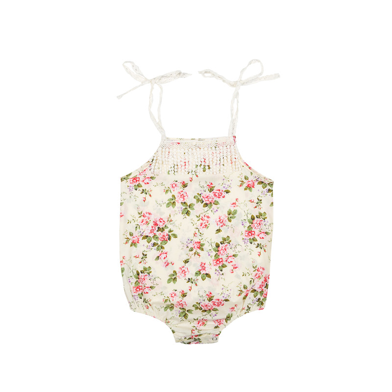 Baby Romper Girls Jumpsuits Newborn Romper 2018 Summer Vintage Lace Tassel Romper Baby Girls Print Two Belt Bow Onesies
