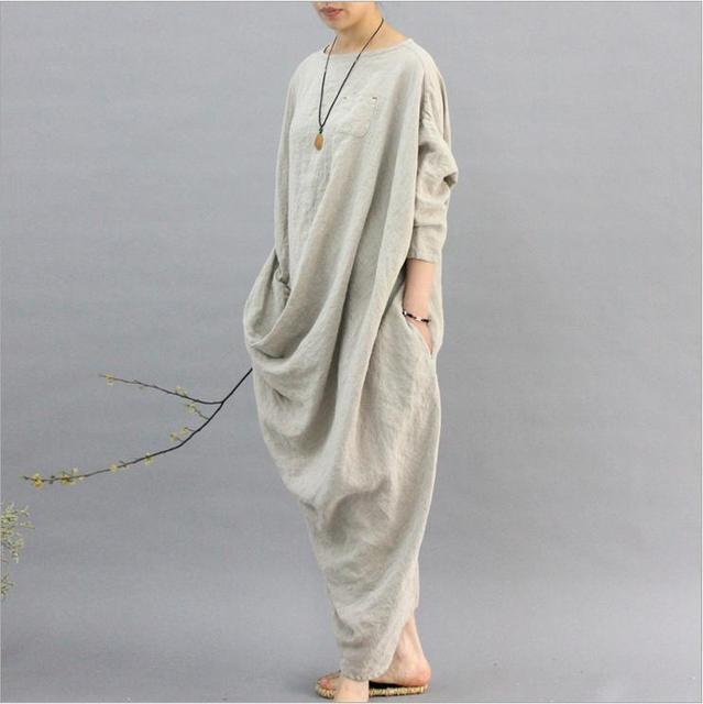 , plus la taille coton et lin retro femmes robe robes